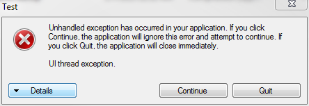 Unhandled exception message