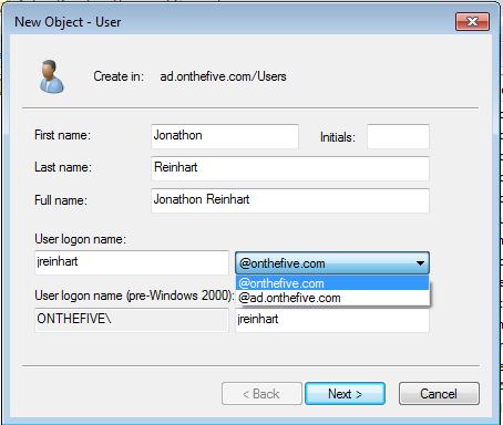 New user UPN suffix